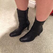 Black Office Size 5 Leather Squared Off Toe Ankle Boots