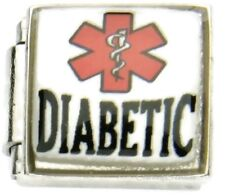 Diabetic Medical Alert Link For 9mm Italian Charm Bracelets Diabetes Insulin