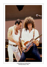 FREDDIE MERCURY BRIAN MAY QUEEN LIVE AID 1985 WEMBLEY A4 PRINT PHOTO  MUSIC