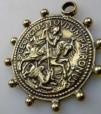 WWII Chaplain St. George Slaying the Dragon Soldiers Dog Tag Chain Rosary Medal