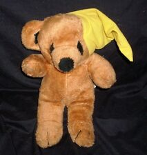 "12"" VINTAGE INTERPUR GOODNIGHT YELLOW HAT TEDDY BEAR STUFFED ANIMAL PLUSH TOY"