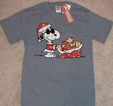 Peanuts Snoopy & Woodstock Christmas T-Shirt SS Santa & Toy Sack Blue Mens Med.