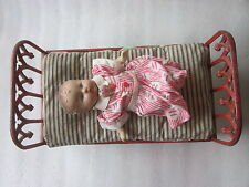 """Victorian Era Cast Iron Doll Bed with bedding and vintage doll 15 1/4"""" x 8 1/2"""""""