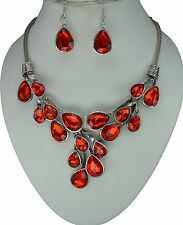 |SALE| Red Crystal Vintage Silver Chain Statement Necklace Earrings Set