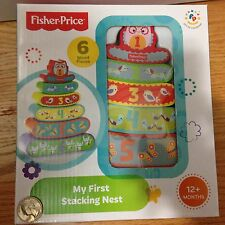 Fisher Price My First Stacking Nest 6 Wood Pieces Developmental Toy 12M+ NEW