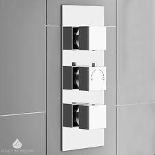 Triple Square Concealed Thermostatic Shower Valve Chrome Brass Modern Minimalist