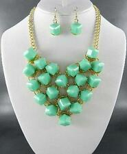 Green Cube Lucite Bead Stud Gold Tone Base Gold V Style Necklace earring