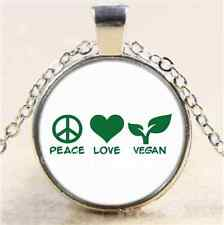 Peace love vegan Photo Cabochon Glass Tibet Silver Chain Pendant Necklace