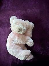 Doudou peluche ours fatigué dodo allongé rose les petites marie 20cm