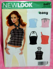 Uncut New Look Misses 6-16 Easy Summer Knit Tops Pattern 6489 Halter Tank Tube