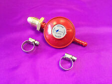 LPG Propane Gas 37 mbar Low Pressure Red Regulator With 2 Clips - Camping, BBQ