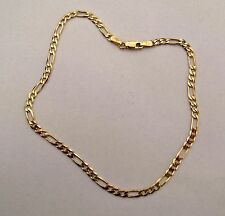 """10"""" 25cm 3mm thick 9ct Gold Figaro Anklet Chain 3g"""
