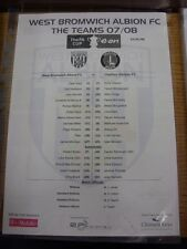 15/01/2008 Colour Teamsheet: West Bromwich Albion v Charlton Athletic [FA Cup] (