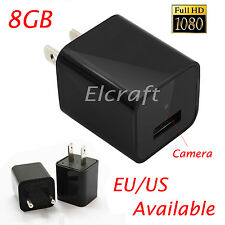HD 1080P Mini USB WALL AC Adapter US EU Plug Charger Spy camera Nanny FBI DV 8GB