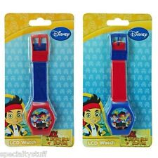 2 NEW DISNEY JAKE & THE NEVER LAND PIRATES LCD WATCH CHILDREN TIME PIECE (MI)