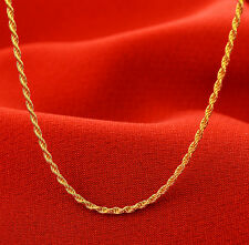 J.Lee 17inch Solid 24K Yellow Gold Necklace / Classic Rope Chain Necklace