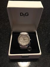 Dolce And Gabbana White Leather Watch With Rhinestones Authentic With Box