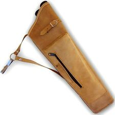 2 ARROW TUBES TRADITIONAL ARCHERY LEATHER SIDE/HIP QUIVER AQ158S BROWN  R/H