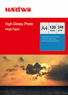 100 Sheets + 20 Sheets A4 230Gsm High Glossy Photo Paper Inkjet Paper Hartwii