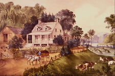524017 American Homestead Summer Currier And Ives A4 Photo Print