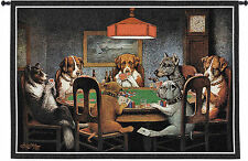 DOGS PLAYING POKER TAPESTRY * Cards Friends Bulldog Cigars Man Cave WALL HANGING