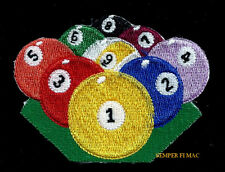 BILLIARD BALLS RACK LUCKY EIGHT 8TH BALL HAT PATCH POOL SPORT PIN UP GIFT QUILT