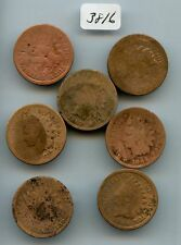 Seven Indian 1C (#3816) All Low Grade & Cleaned. 1864 Bz, 1864-L Pointed Bust, 1