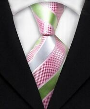 New Men's Pink Silver Striped 100% Silk JACQUARD WOVEN Suits Tie Necktie F075