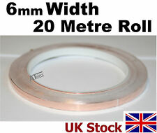 6mm Conductive Copper Foil Tape, 20m length, self adhesive  - UK Stock