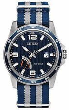 Citizen AW7038-04L Men's Eco Drive PRT Power Reserve Slip-Thru Nylon Strap Watch