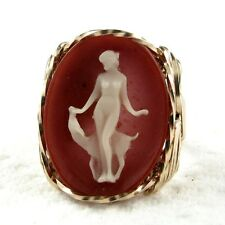 Lady Deer Cameo Ring 14K Rolled Gold Jewelry Size Selectible Terra Cotta Resin