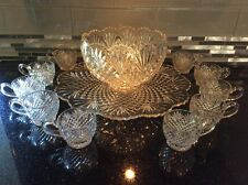 L.E. Smith Pineapple Punch Bowl,10 cups and Under Plate Clear Glass vintage