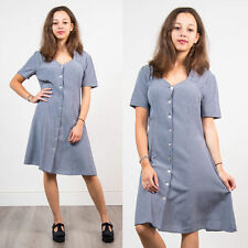 VINTAGE BLUE AND WHITE GINGHAM CHECK MINI DRESS 90'S WOMENS GRUNGE STYLE 16