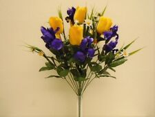 "YELLOW PURPLE Mix Tulip Iris Bush 22 Artificial Silk Flowers 22"" Bouquet 4927YP"