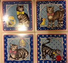 Set of (4) Blue and White Ceramic Decorated Cats Trivets Tile Art
