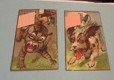 Dog and Cat in Trouble and on the Run 2 Victorian Trade Card Lot Antique Animals