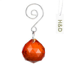 3 Natural Orange Suncatcher Crystal Ball Prisms Lighting Lamp Drops Pendant 30mm