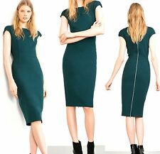 ZARA NWT Emerald Green Long Pencil Tube Dress With Zip Back Size M SOLDOUT