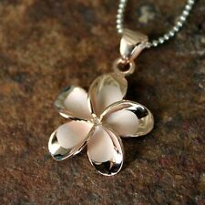 22mm LARGE Rose Gold Plumeria Hawaiian Flower Silver Pendant Necklace #SP66069
