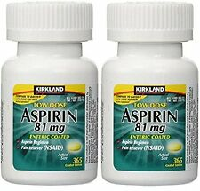 Kirkland Low Dose Aspirin 81mg Enteric Coated 2 x 365 tablets + FREE SHIPPING