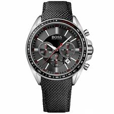 NEW HUGO BOSS 1513087 MENS BLACK DRIVERS SPORTS WATCH - 2 YEAR WARRANTY