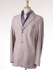 NWT $7995 KITON Beige Lambskin Suede Leather Blazer Slim 54/XL (fits L) Jacket