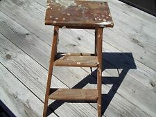 Vtg Small Wooden 2 Step Ladder Antique - Cute!
