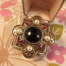 Vintage 1988 Signed JJ Goldtone, Faux Gem & Faux Pearl Regal Brooch Pin