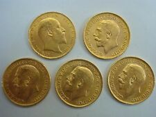 Lot of 5 British Gold Coins Sovereign George V and King Edward VII