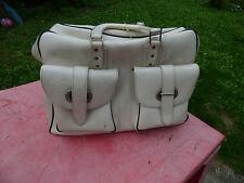 sac de voyage vintage années 70  en simili cuir blanc