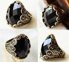 Black Vintage Crystal Ring Stone Retro Womens Goth Rhinestone New UK
