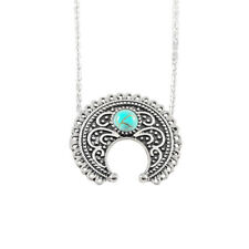 Silver & Turquoise Crescent Necklace Boho Jewellery Gypsy Bohemian Ethnic A189