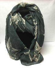 Starfish Large Print Lady/Girls Fashion Scarf/shawls/wrap/stole/Dark Grey