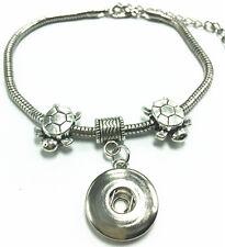 Fashion Charm Sea turtle Tibet silver bracelet Fit snap chunk button charm Gifts